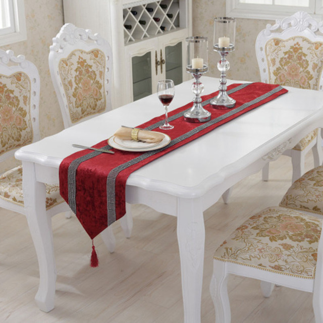 luxury table runner modern velvet decor table runners rhinestone runners wedding hotel home. Black Bedroom Furniture Sets. Home Design Ideas