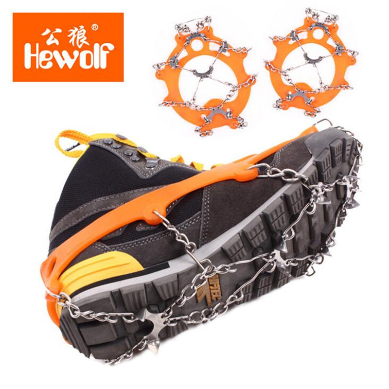 1pairs 8/10/12 Teeth Claws Crampons Non-slip Shoes Cover Stainless Steel Chain Outdoor Ski Ice Snow Hiking Climbing Gripper S156 vik max adult kids dark blue leather figure skate shoes with aluminium alloy frame and stainless steel ice blade