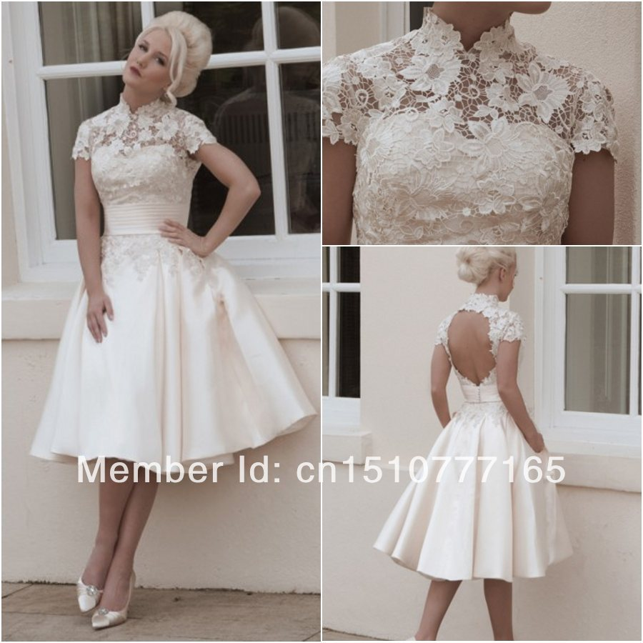 Short Wedding Dress Dresses Uk Tea Length Beach A Line Knee Length ...