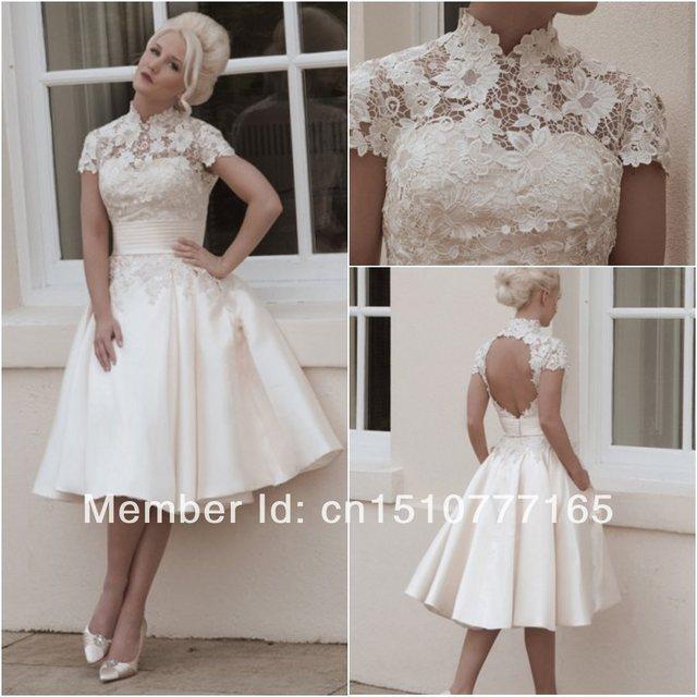 Knee Length a Line Wedding Dress