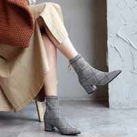 Women High Heels Ankle Boots Stretch Genuine Leather Flock Women Fashion Shoes Black Plaid Camel Block Heel Boots Ladies Shoes
