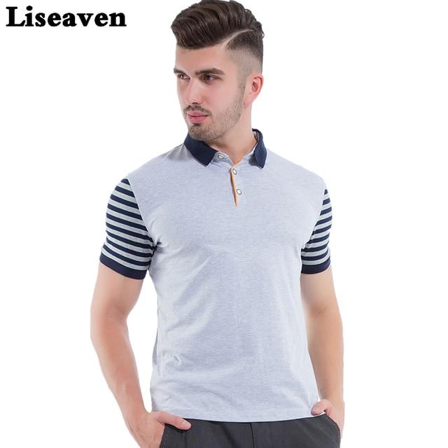5888fd3582c90 Homens Polos de Manga Curta Camisas Pólo Cinza Liseaven Camisa Slim Fit  Roupas masculinas Camisa Pólo