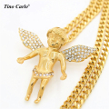 Tino Carlo 9 Design Hot Sale Gold Plated Cherub Baby Angel Charm Cuban Chain Hiphop Lovers Bling Micro Crown Angel Necklace