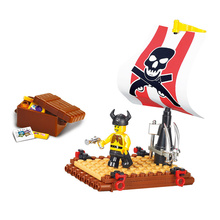 Sluban Model font b Toy b font Compatible with Lego B0277 64pcs Pirates Ship Action Model