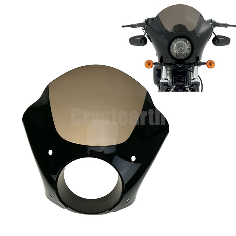 Headlamp Visor Cowl Headlight Fairing Mask + Trigger Lock Mount Kit For Harley Sportster 883 1200 Dyna Super Glide Low Rider C/5 detachable quarter headlight fairing kit for harley sportster fxr 1986 1994 dyna 1995 2005 for harley 883 fat bob super glide