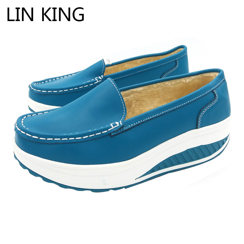 LIN KING Women Swing Shoes Warm Plush Wedges Winter Platform Shoes Anti Skid Height Increase Snow Boots Slip On Lazy Short Shoes 2017 new anti slip women winter martin
