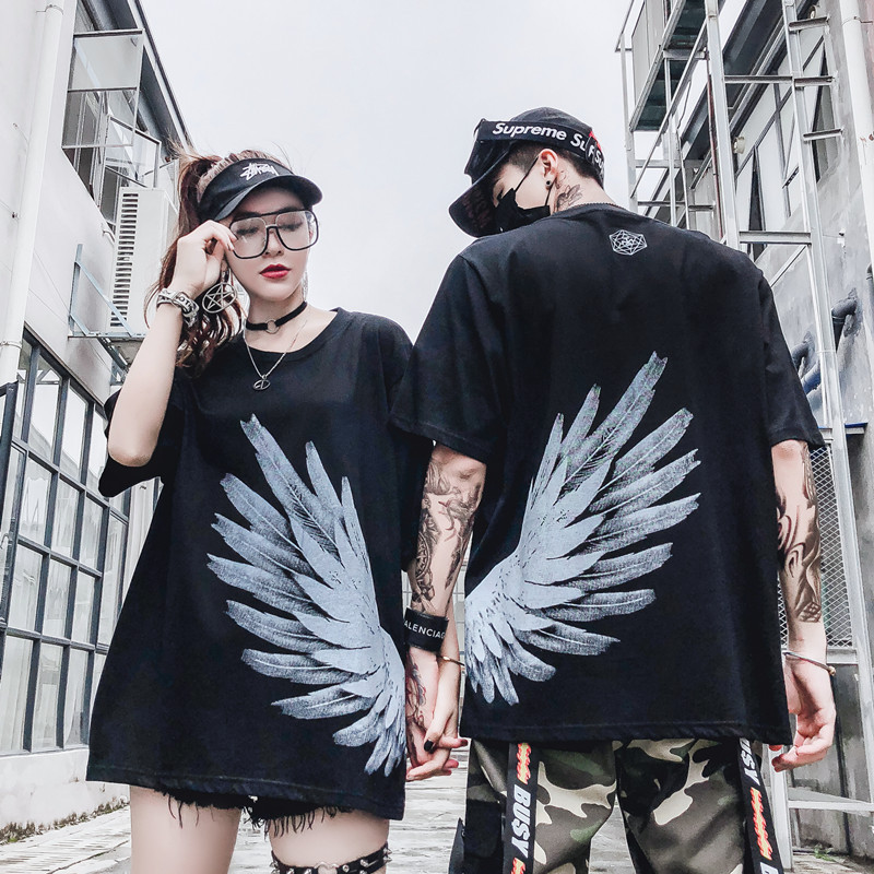 Impresión o-cuello algodón Casual frente camiseta hombres amantes Hiphop  hip-hop suelta media 84550656f1411
