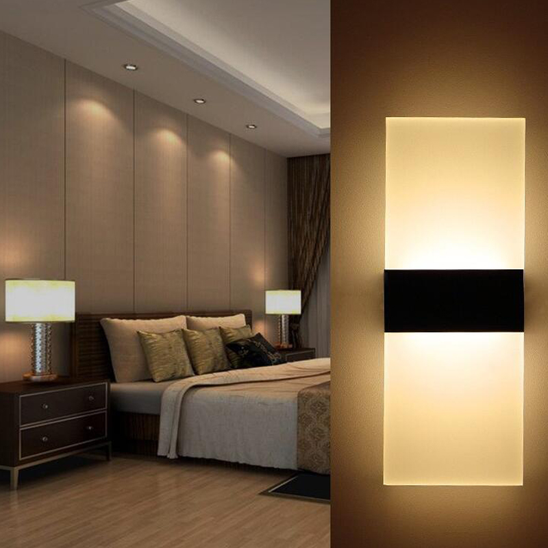 modern led wall lamp acryl metal home lighting bedroom bedside wall sconce light living sitting. Black Bedroom Furniture Sets. Home Design Ideas