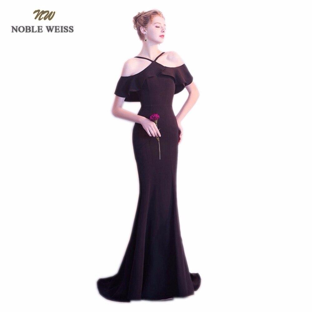 NOBLE WEISS Sexy robe de bal de haute qualité Satin personnalisé mode licou fermeture à glissière dos pas cher robes de soirée avec Train de balayage