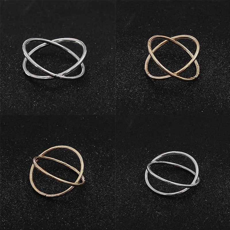 Gold Color Plated X Cross Hot women`s ring For Women Jewelry 2018 New Arrivals Stereo Surround Ring