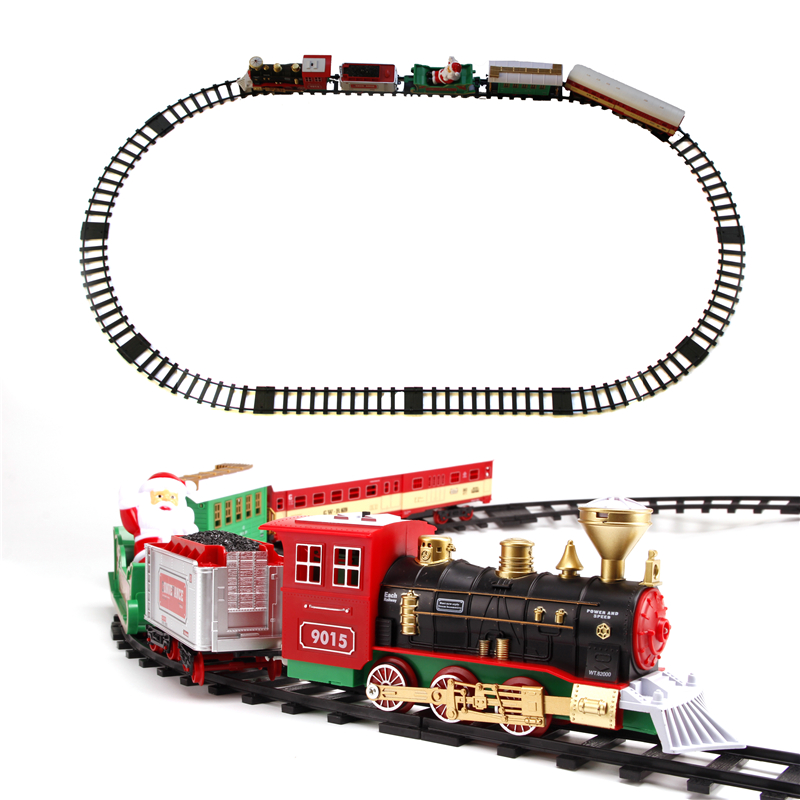 Classic toy Christmas Train Battery Operated Railway Rail Train Electric Toys Railway Car with Sound&Light Rail Car for Children