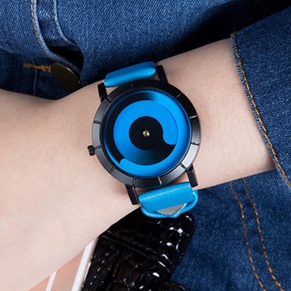 Unique Vortex Unisex Gradient Color Male Aurora Rotating Quartz Leather Wristwatch Luxury Sport Dress Watch Men Women Gifts 2019