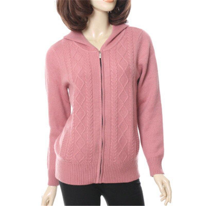 100% козья кашемир толстой вязки Женская мода на молнии с капюшоном свитер элегантный сплошной серый 8 видов цветов M 2XL