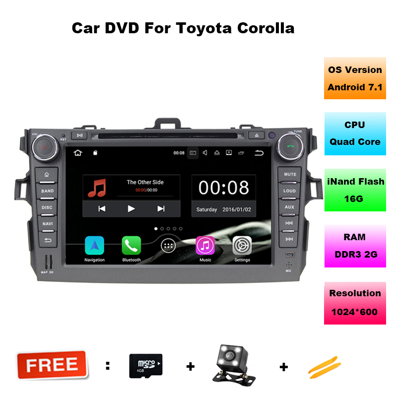Quad Core Android 7.1 car dvd player for Toyota corolla 2007 2008 2009 2010 2011 in dash 2 din 1024*600 car dvd gps navigation
