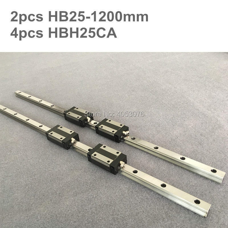 HGR 2 pcs linear guide HB25 1200mm Linear rail and 4 pcs HBH25CA linear bearing blocks for CNC partsHGR 2 pcs linear guide HB25 1200mm Linear rail and 4 pcs HBH25CA linear bearing blocks for CNC parts