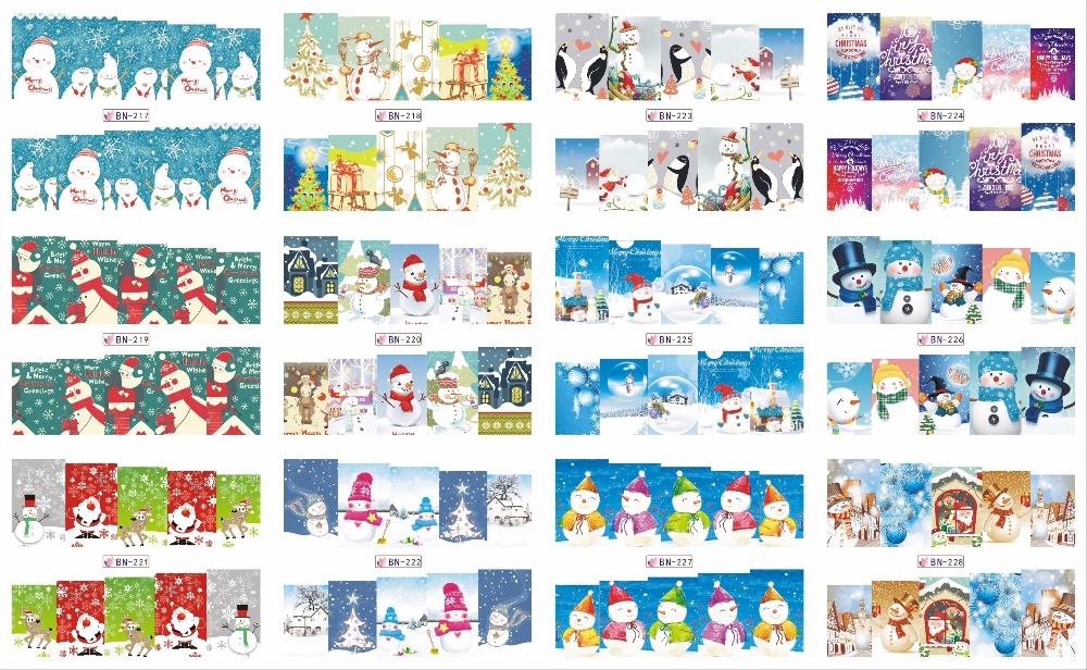 On sale !!   1 Lot by 20 papers 12  New Style Nail Art Water Sticker Christmas trees and Christmas snowma in 2016 for  BN217-228