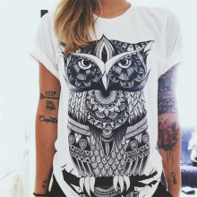 2019 New Women T-shirts Casual Owl Printed Tops Tee Summer Female T shirt Short Sleeve For Clothing