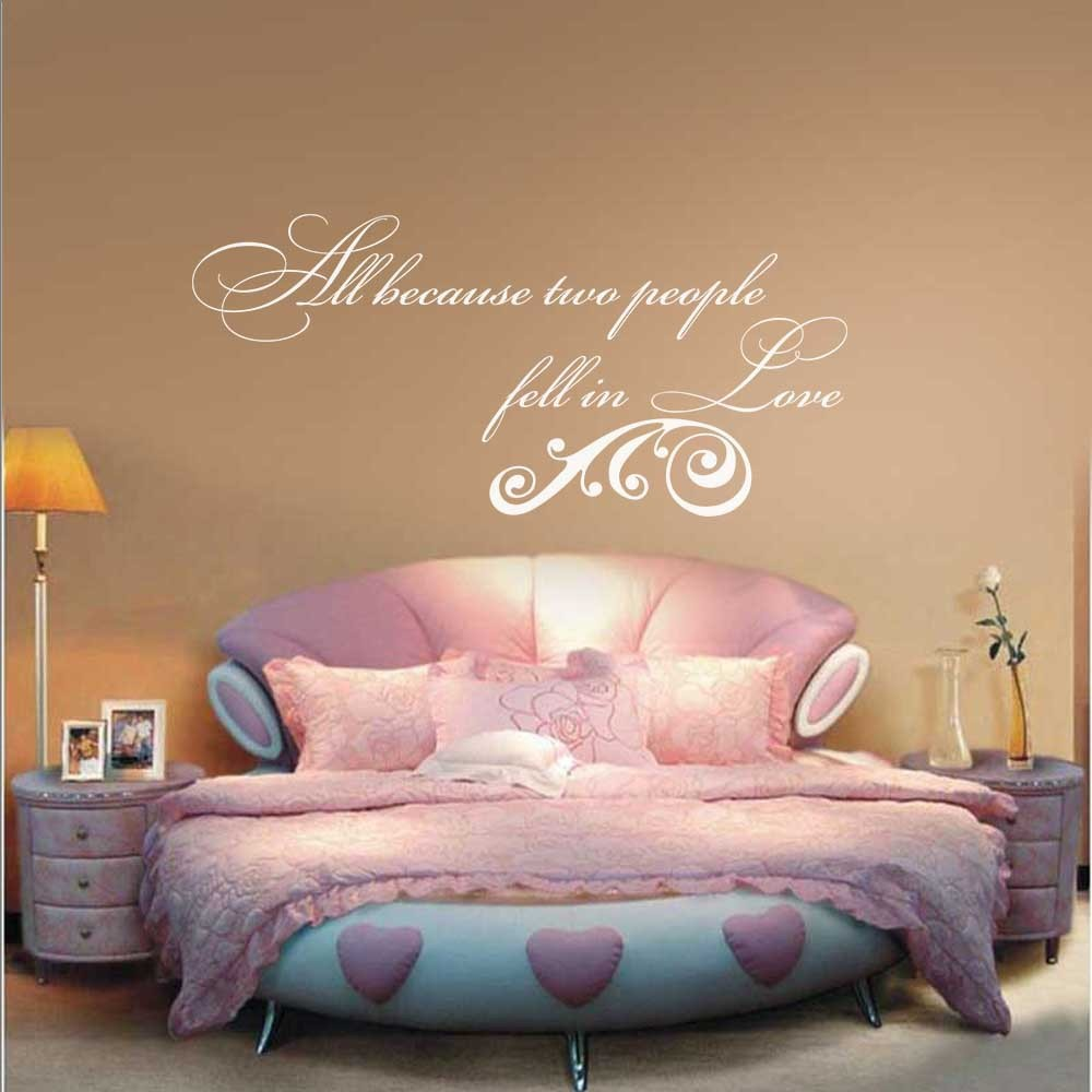 All Because Two People Fell in Love Wall Decal - Anniversary Wall Quote Couple Room Vinyl Wall Decal 58 x27