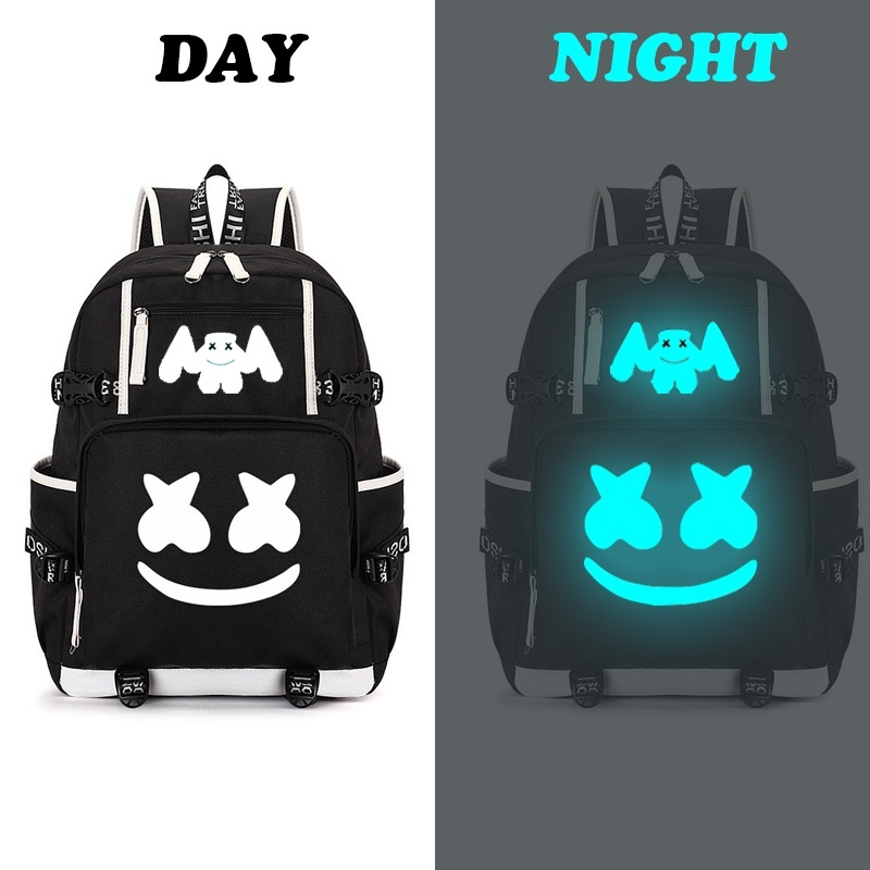 Marshmello American Mystery DJ Backpack Multifunction USB Backpack For Teenagers Men Women Student School Travel Luminous Bags