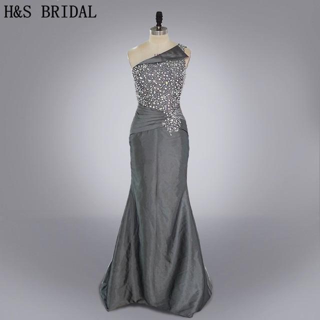 Real photo Formal evening gown Dark grey beaded taffeta mermaid ...
