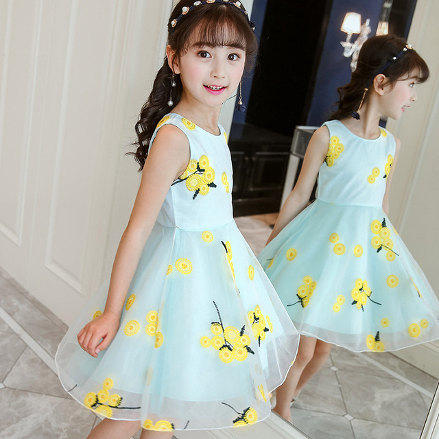 2018 Summer Style Flower Girls Dress Toddlers Teen Children Princess Clothing Fashion Kids Party Clothes Sleeveless Dresses 1