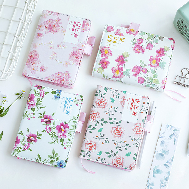 Bright Summer Flowers PU Cover A6 Journal Hobonichi Style Diary 144P Undated Monthly Weekly Daily Plan Free Shipping the beauty and beast floral diary a6 undated monthly weekly planner hobonichi fashion journal gift