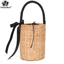 Fashion Ladies Straw Bucket Bag High Quality Handmade Rattan Woven Summer Beach Famous Brand Handbags Sac A Main 2019