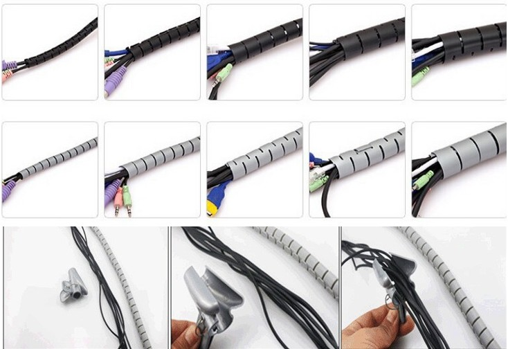 Cable Management Sleeve Flexible Durable Spiral Wrap Tube Cable Organizer Wire Wrap Cover Organizer Cord Protector Wire Storage Pipe Multiple Color and Size Choices Whtie 1.5m*28mm