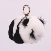 Rex Rabbit S Hair Key Buckle Mink Lesser Panda Plush Jewelry Ornaments Leather And Fur Bag