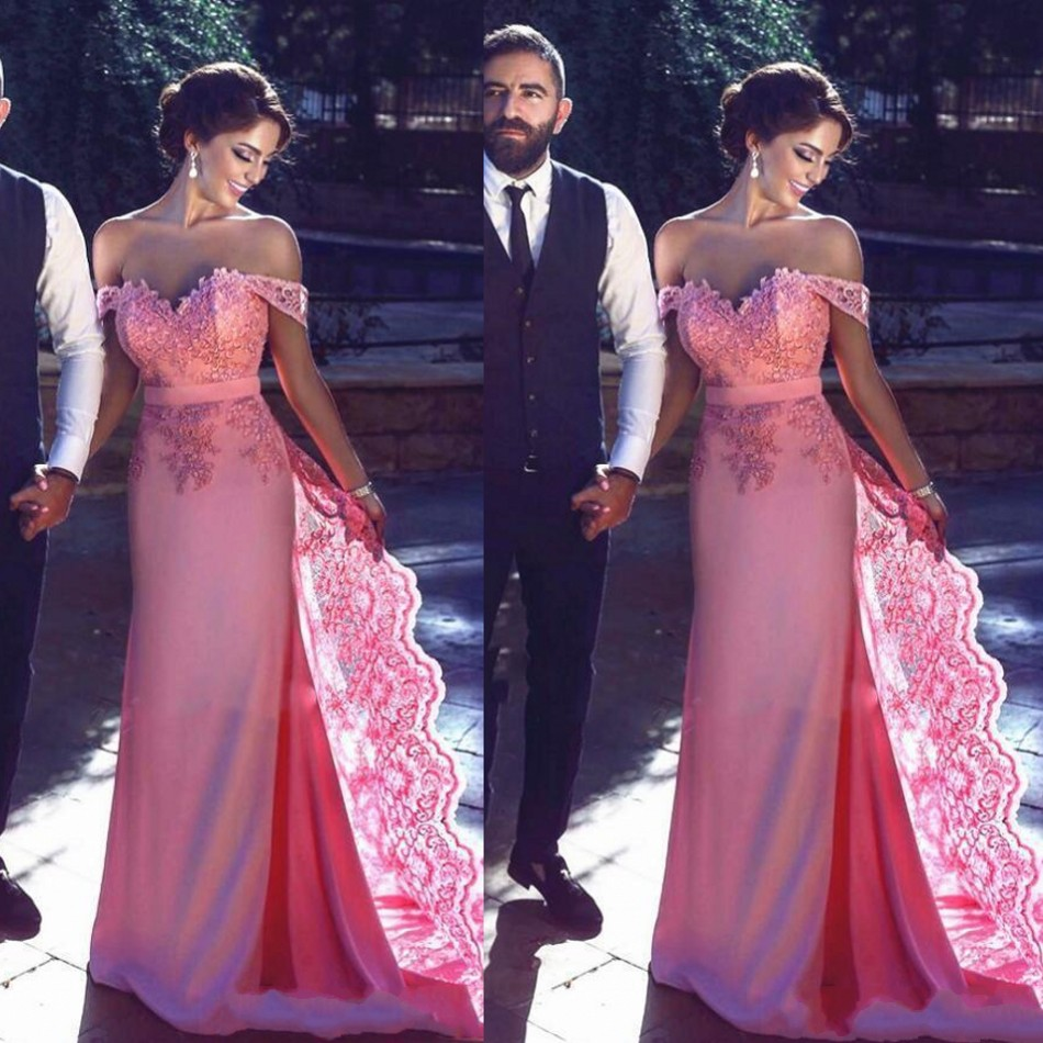 Saudi Arabia Coral Color Long Mermaid Formal Party Dresses Lace With