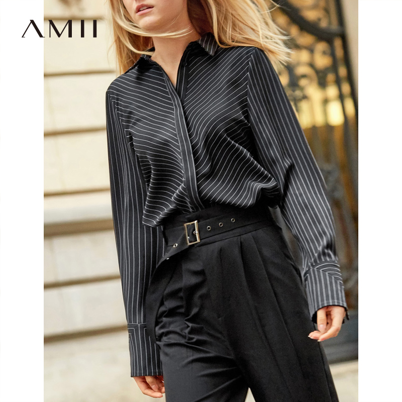 Amii Minimalist Stripe Shirt Women 2019 Spring New Spliced  Loose Long Sleeve Notched Female Office Blouse-in Blouses & Shirts from Women's Clothing    1