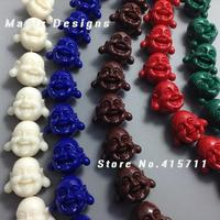 C150630122 50pcs 18mm Mixed Colors Happy Buddha Beads Spiritual Jewelry Good Luck Fortune Beads Charm