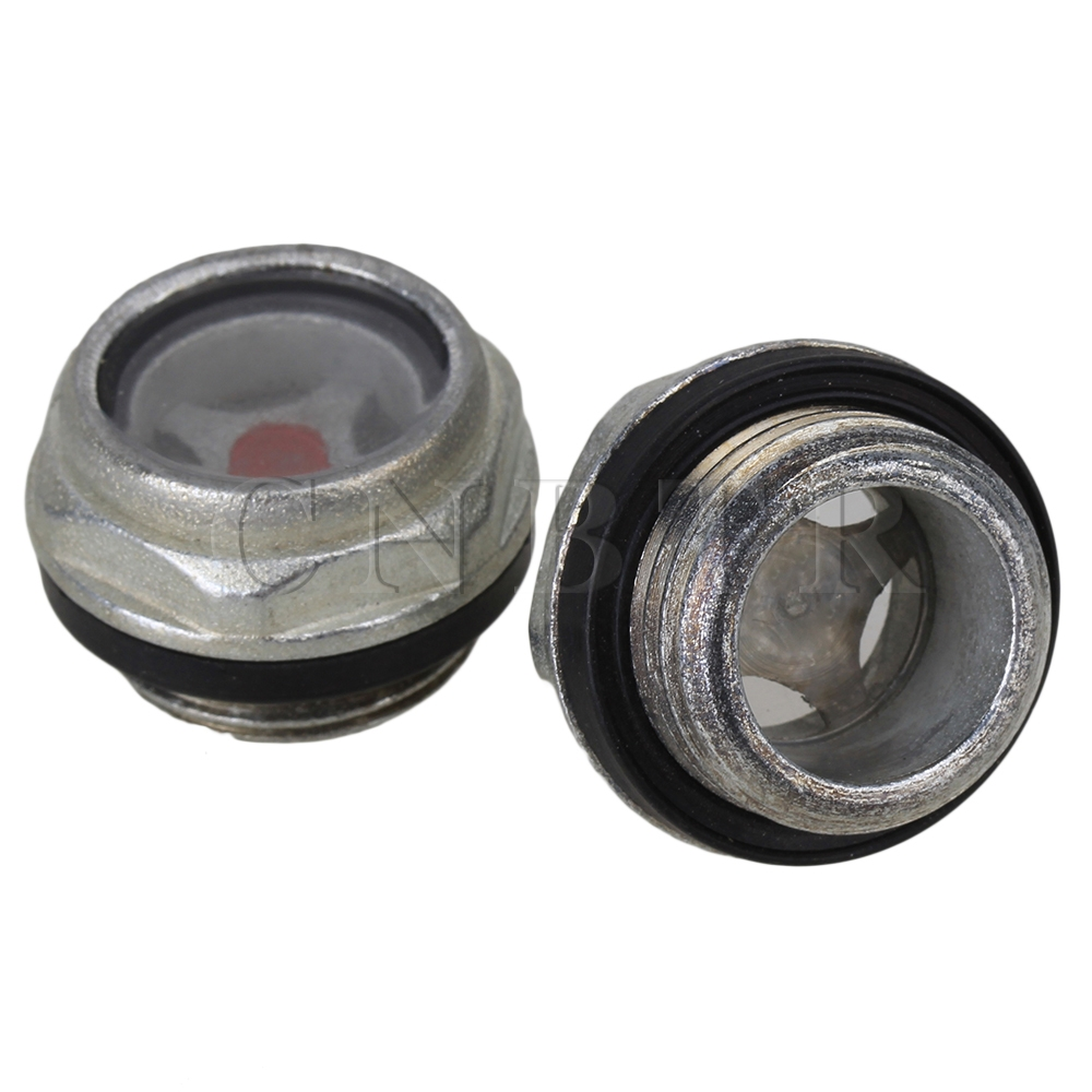 CNBTR  2pcs Metal 26mm Dia Oil Level Sight Glass for Air Compressor G1/2 Threaded air compressor o ring 1 2pt thread oil level sight glass