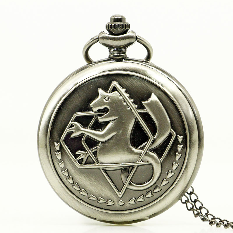 High Quality FullMetal Alchemist Edward Elric Cosplay Pocket Watch Dull Polish Men's Penadnt Necklace Fob Chain(China)