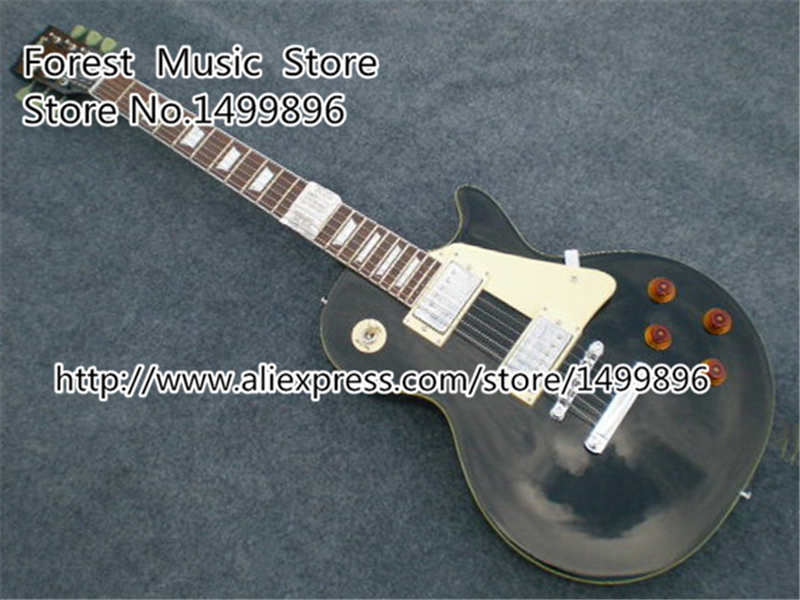 Classical Black Chinese LP Electric Guitarra Custom From Musical Instrument Factory Left Handed Available custom shop chinese musical instrument golden finish lp electric guitar kits lefty custom available