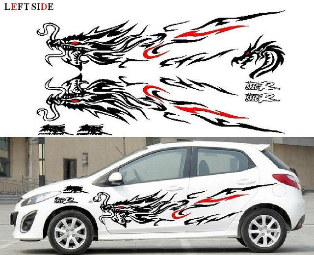 Left side car stickers chinese dragon character car whole body sticker garland racing sport decal docer