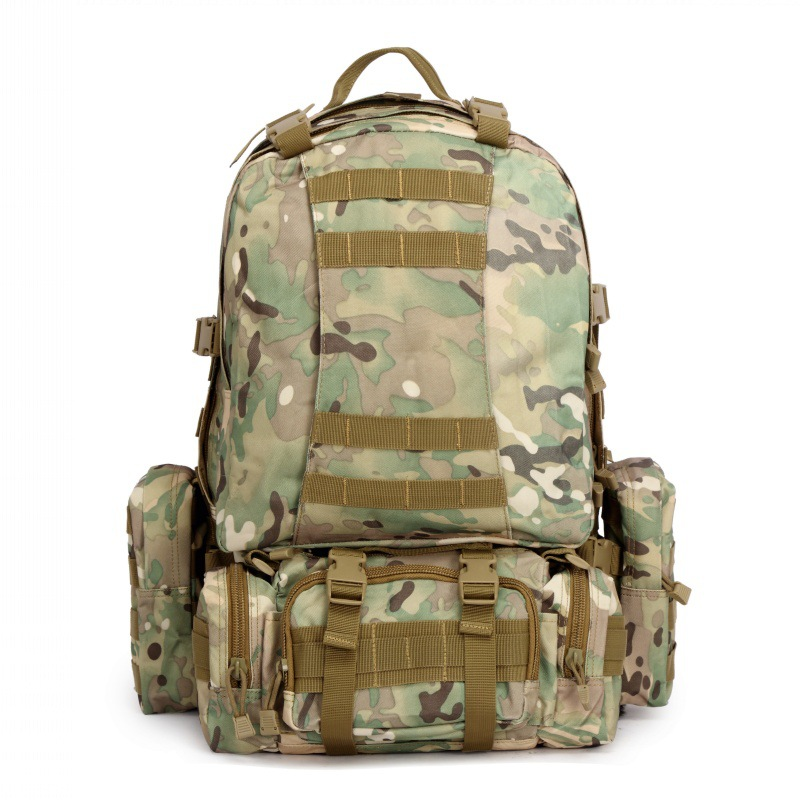 CQC 55L Outdoor Backpack 1000D Military Tactical Molle Rucksack Hiking Camping Hunting Camouflage Waterproof Sport Bags large camping backpack molle tactical military rucksack outdoor sports bag waterproof hiking hunting backpacks camouflage x242wa