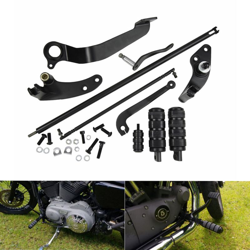 Black Forward Controls Complete Kit with Pegs Levers Linkages For Harley Sportster 883 1200 XL 2004