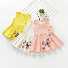 2017 summer children's clothes girls dresses causal butterfly printed sleeveless cotton girl dress for girls vestid kids dresses