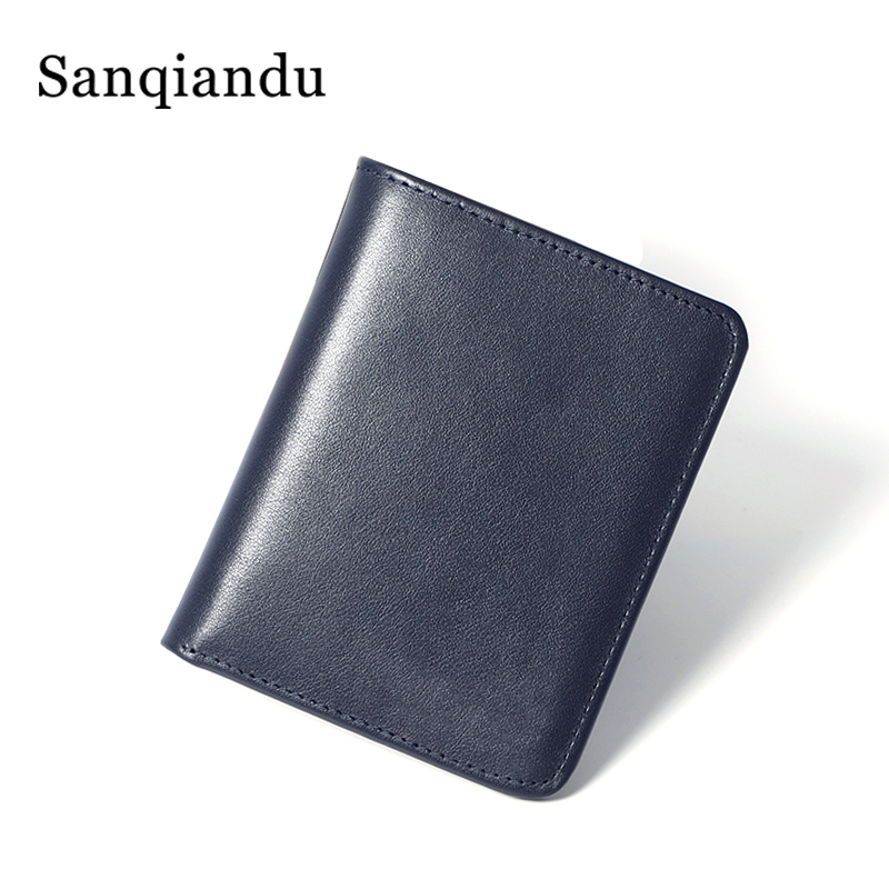 100%Natural Leather Purse For Men Genuine Leather Men's Wallets Thin Male Wallet Card Holder Soft Mini Purses Pocket Wallet Slim
