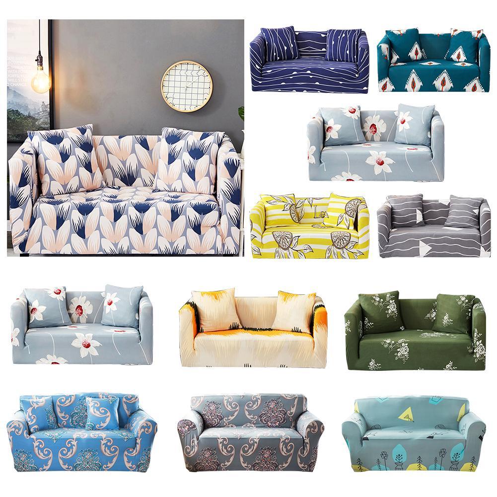 1Pc Floral Print Sofa Wrap Full Cover Anti-slip Elastic Couch Case Slipover Decor New