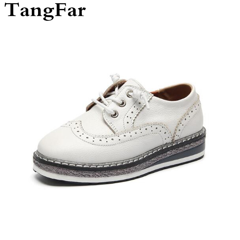 Hot Boy Girl Genuine leather Lace Up Sneakers Platform Mid-heel Black White Sapato Infantil British Style Baby Causal Shoe