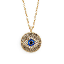 Crystal Evil Eyes Pendants Necklace