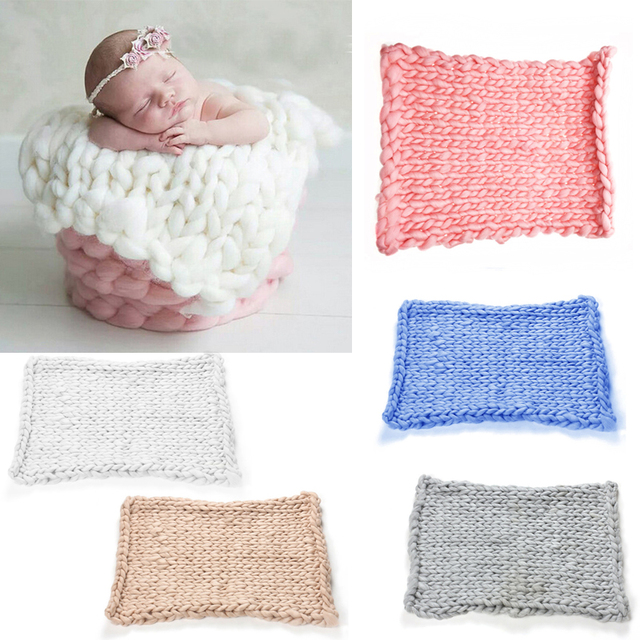 New knitted crochet blanket mat baby newborn balls blanket prop newborn baby photography props accessories crochet