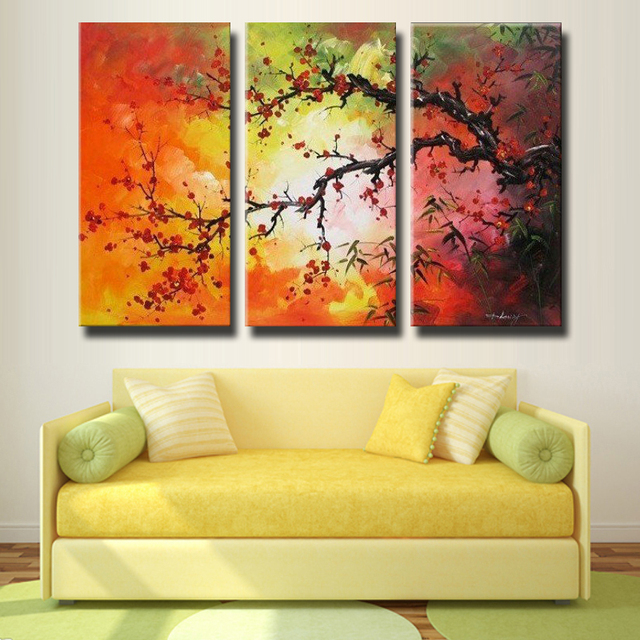 Handmade 3 Piece Black White Red Plum Blossom Pictures Oil Paintings ...
