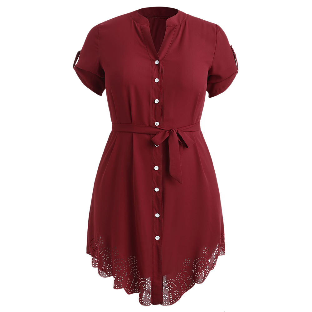 Wipalo Plus Size Red Laser Cut Button Up Asymmetrical Shirt Dress Elegant  Roll Up Sleeve Dress Autumn Eyelet Belted Dress 5XL-in Dresses from Women s  ... 16a83108d5c1