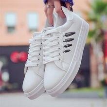 Лучший!  Белые кроссовки Zapatillas Mujer Обувь Женская мода Новый дизайн зашнуровать удобные женские плоские Лучши�
