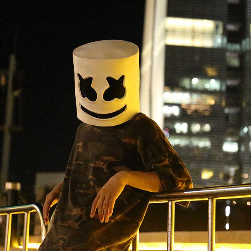 DJ Marshmello Mask Full Face Cosplay Halloween Latex Masks Prop