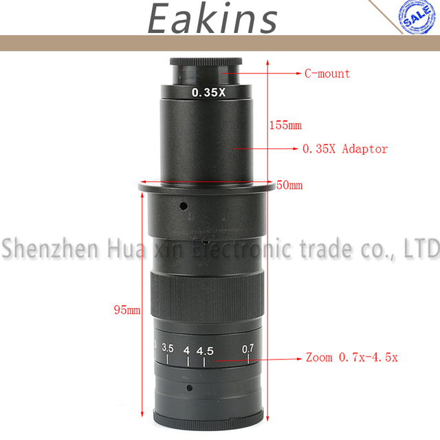 10~120X/180X/300X Adjustable Magnification Zoom C-mount Lens 0.7X~4.5X Industry Microscope Camera Eyepiece Magnifier