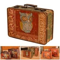 Retro Stylish European Storage Box Travel Out Suitcase Small Portable Wooden Antique Decoration Make Up Organizer Box